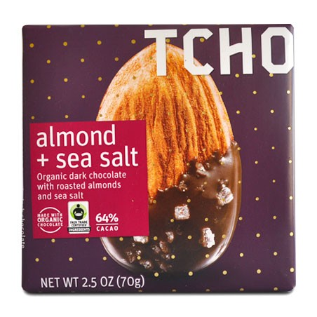 TCHO almond and sea salt vegan chocolate bar